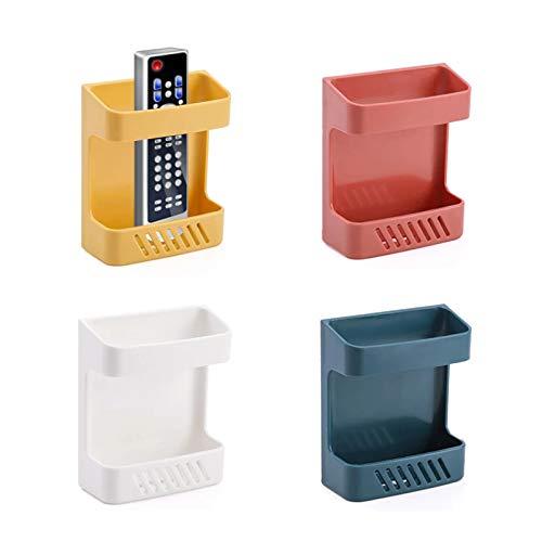 Lvjkes caja de almacenamiento de control remoto de pared, soporte para mando a distancia, Soporte para estante de carga para teléfono que cuelga fuerte para televisores y aires acondicionados 4 piezas