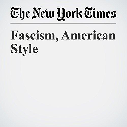 Fascism, American Style copertina