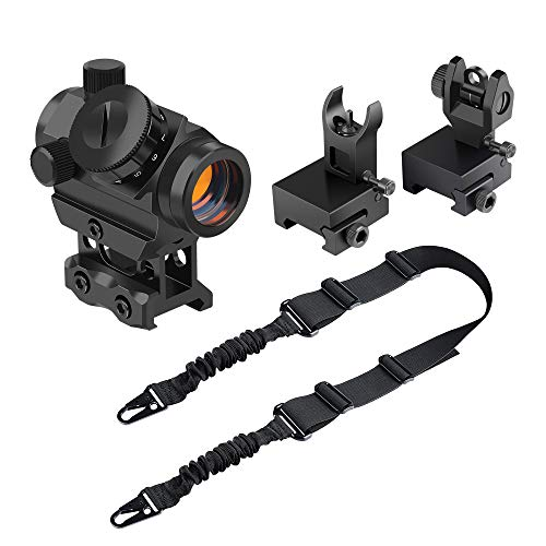 Feyachi RDS-25 Red Dot Sight 4 MOA with Flip Up Rear Front and Iron Sights and L46 Two Points Rifle Sling