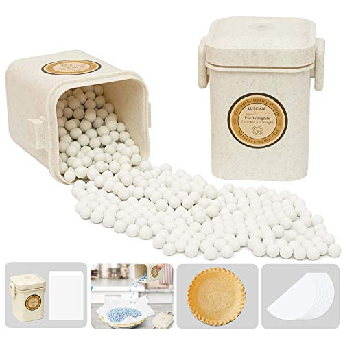Luscian 1.5LB Ceramic Pie Weights Baking Beans 10mm Reusable Pie Crust Weights with Natural Wheat Straw Storage Container Natural Pie Weights For Pie Pastry Baking (White)