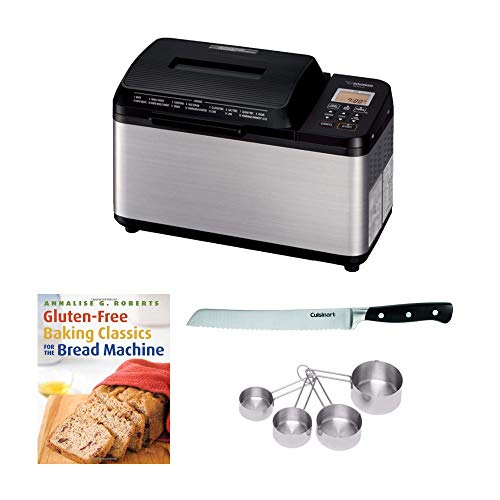 Zojirushi BB-PDC20BA Home Bakery Virtuoso Plus Breadmaker, (2 lb. loaf) Bundle with 8' Bread Knife with Blade Guard, 4 Piece Stainless Steel Measuring Cup Set and Gluten-Free Bread Book (5 Items)