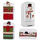 Moroborクリスマス冷蔵庫ハンドルカバー、スノーマン冷蔵庫ステッカー装飾、クリスマス冷蔵庫オーブンディスプレイキャビネットキッチン家電ドアハンドルプロテクター