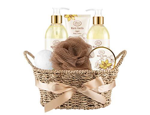 Bath & Shower Spa Basket Gift Set, Warm Vanilla Sugar Scent, with Shower Gel, Bubble Bath,Body Lotion, Bath Bomb,Bath Salt, Bath and Body Gift Box for Women,without Gift Tag