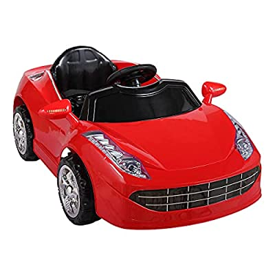 TOBBI Kids Ride Racing Car,6V Rechargeable Toy Vehicle w/ Remote Control, Battery Powered Motorized Vehicles w/ LED Lights HornRed from TOBBI