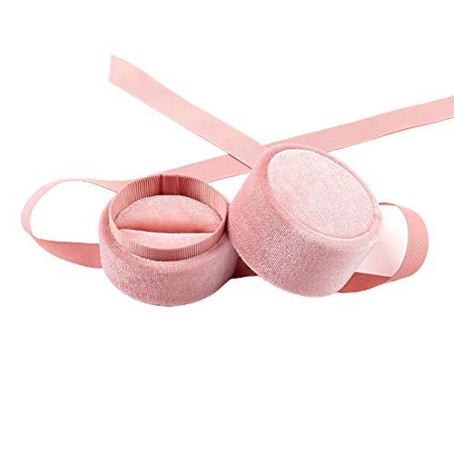 AchidistviQ Caja de regalo redonda para anillos de joyería, caja de regalo para Navidad, día de San Valentín, collar y pendientes – Caja con colgante rosa