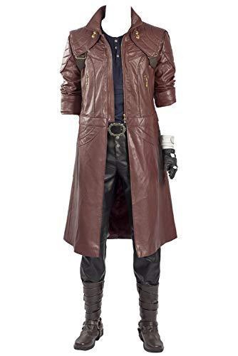 Harrypetter Dante Cosplay Kostüm Herren Halloween Karneval Mittelalter Leder Trenchcoat Jacke Komplettset Gr. L, Nur Mantel.