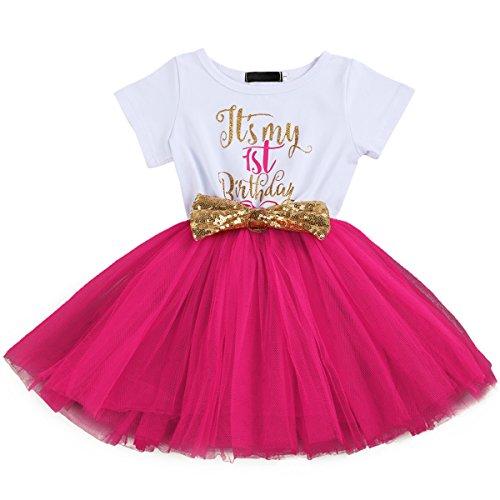 FYMNSI Enfant Bébés Filles C'est Mon 1er / 2ème Anniversaire Robe Princesse Manche Courte 1 an 2...