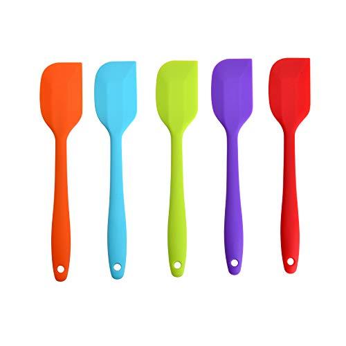 Yizhet 5 piezas Espátulas de Silicona resistente al calorde Coloridos para hornear y espátulas Espátulas Antiadherente Flexibles Caucho Alma de Acero Buenas Herramientas de Cocina (21 * 4cm)
