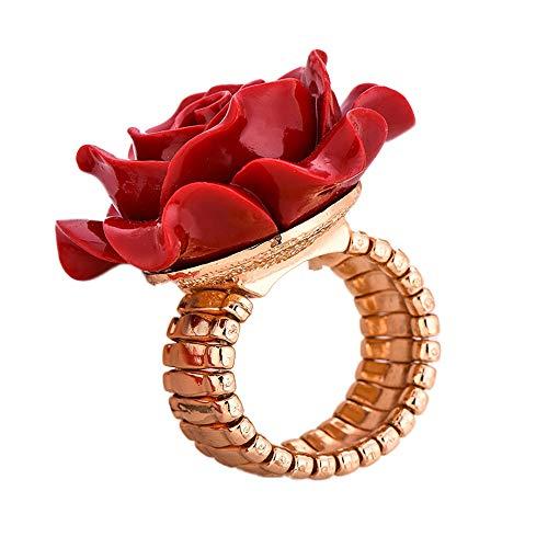24 JOYAS Anillo Rosa Roja Redimensionable para Mujeres Elegantes y Regalo romántico para Enamorados y símbolo de Belleza