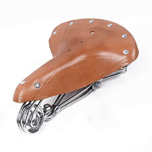 WZ YDTH Comfort Fietsstoel, Vervanging Fietszadel Suspensie Retro Echt Lederen Fietsstoel, Klassieke Zadels Kussen Mat voor Stad Mountain Fietsen Rijden