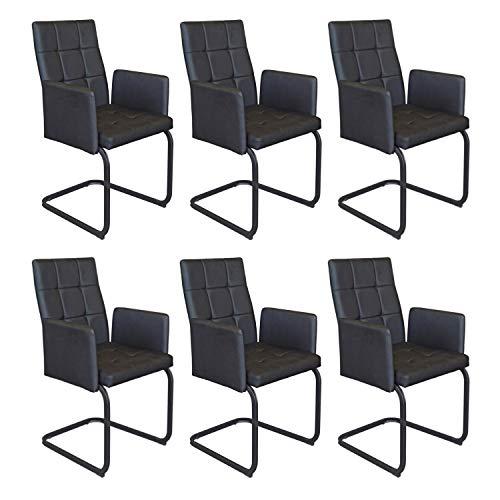 B&D home - Esszimmerstühle 6er Set | Vintage freischwinger Stühle mit Armlehne | Kunstleder schwarz