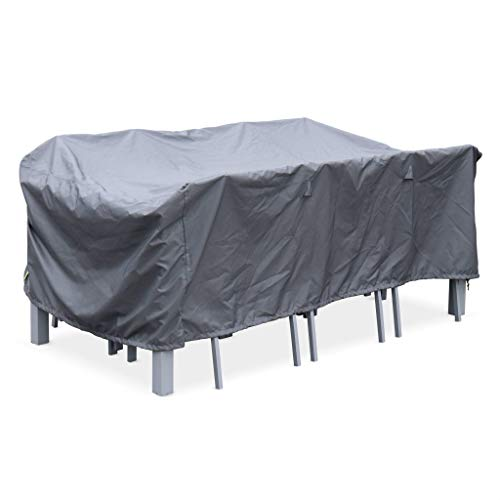 Housse de Protection 202x124cm Gris foncé - Bâche rectangulaire en Polyester Enduit PA pour Table de Jardin Philadelphie ou Capua 180