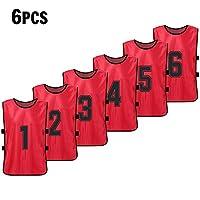 サッカーピニーキッズ 6PCSキッズフットボールピニー速乾性サッカージャージーユーススポーツスクリマージュバスケットボールチームトレーニング番号付きよだれかけ練習用スポーツベスト
