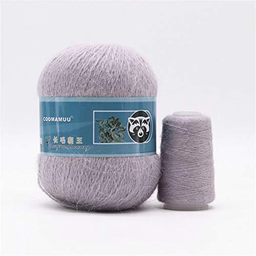 Mrjg Rosen 50 + 20g / Set Lange Plüsch Yarn Anti-Pilling Hand Stricken Gewinde for Cardigan Schal geeignet for Frau weiß (Color : 052)