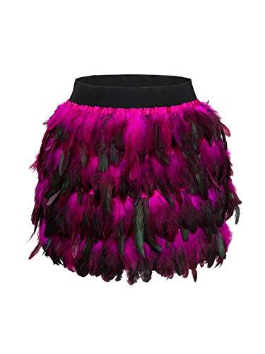 Damen Feder Rock Karnevalkostüm Elastische Taille Party Minirock, Pink, L