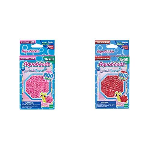 Aquabeads 32728 Glitzerperlen Bastelperlen nachfüllen pink & 32668 Glitzerperlen Bastelperlen nachfüllen rot