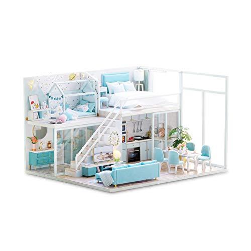 Decdeal DIY Puppenhaus Miniatur mit Möbeln Holzzimmer Montage Kit Home Decoration Miniatur DIY Holz Puppenstuben-Kit für Kleinkinder bei Geschenkparties zum Weihnachtsgeburtstag