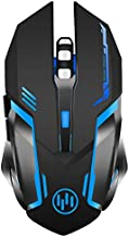 Wireless Gaming Mouse, Scettar Rechargeable Computer Gaming Mouse Silent Click, 7 Led Light, 3 Adjustable DPI,Iron Plate, Power Saving Mode Gaming Mouse for Laptop/PC/Notebook (C19 Black)