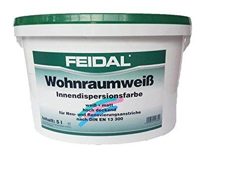 Feidal Wohnraumweiß 5 l, weiß, matt/Innendispersionsfarbe hochdeckend für Neu- und Renovierungsanstriche nach DIN 13 300