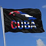 Oaqueen Flagge/Fahne Cuba Map Flag and Text Breeze Flag 3 X 5-100% Polyester Single Layer Translucent Flags 90 X 150CM - Banner 3' X 5' Ft