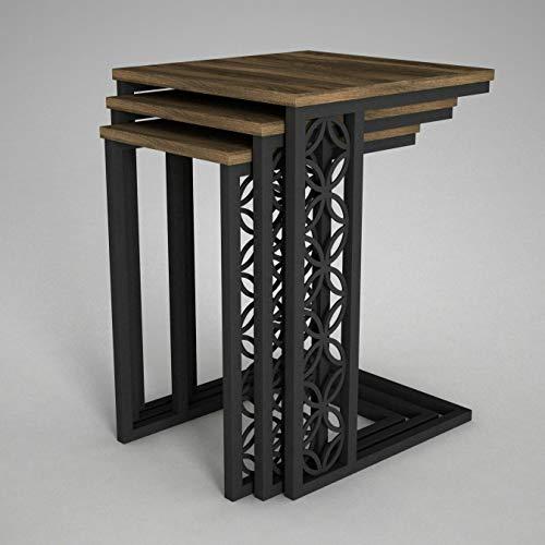 Alphamoebel 4104 Klark Beistelltisch 3er Set Couchtisch Kaffeetisch, Gestell aus Metall, Holz, Walnuss, platzsparend, Designerstück mit Dekor, 43 x 61,8 x 45 cm