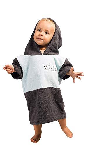 Vivida Lifestyle Poncho mit Kapuze Handtuch und Umziehilfe am Strand, beim Surfen und Schwimmen verwendbar - Blau-Grau, S (Baby)