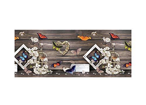 Tappeto Cucina Antiscivolo Lavabile in Vinile | Made in Italy | Passatoia Antimacchia in PVC Interni ed Esterni Stampa Digitale Farfalle e Fiori | Tappeti Runner Lungo in Gomma (52 x 150 cm)