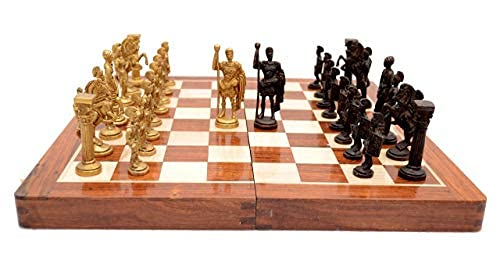Skywalk Hand Crafted Roman Brass Chess Set with Wooden Board