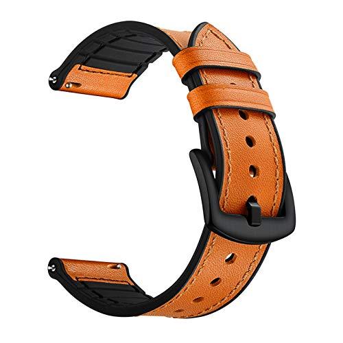 FAAGFC Correa de piel de silicona para Samsung Galaxy Watch3 Active 2 42/46 mm Gear S2/S3 Correa Huawei Watch GT 2 Amazfit GTR (color de la correa: marrón, ancho de la correa: Huawei GT2 42 mm)