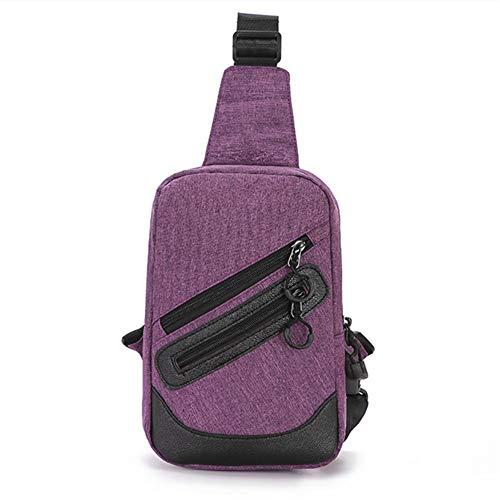 ZZYLHS Borsa Petto Oxford Borse A Tracolla Impermeabili da Uomo Borsa A Tracolla USB for Uomo Borsa A Tracolla for Uomo Borsa A Tracolla for Uomo (Color : Gray)