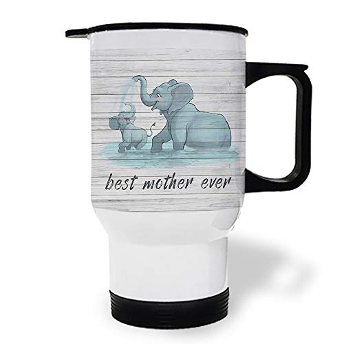 15 OZ Stainless Steel Car Cup with Handle, Best Mama Ever Elephants Playing Water Travel Coffee Mug Cup Heated Thermos for Heating Water, Coffee, Tea Milk, Gift