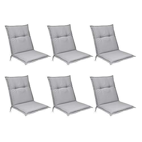 Beautissu Set de 6 Cojines para sillas de Exterior, tumbonas, mecedoras o Asientos con Respaldo bajo...