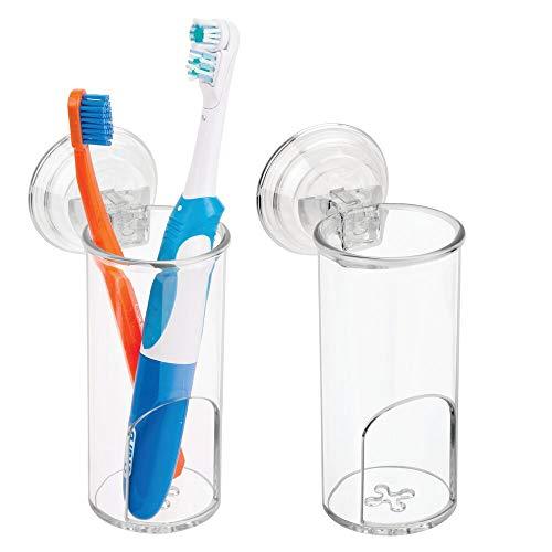 mDesign 2er-Set Zahnbürstenhalter Saugnapf fürs Badezimmer – große Zahnbürstenhalterung & Rasiererhalter aus Kunststoff – für manuelle & elektrische Zahnbürsten & Rasierer – durchsichtig