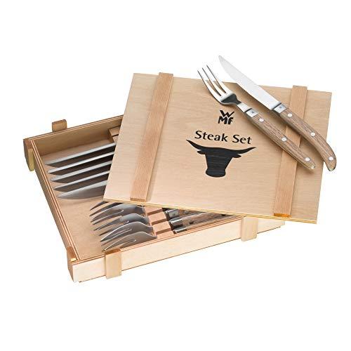 WMF Ranch Steakbesteck 12-teilig, für 6 Personen, Steakgabel, Steakmesser, Spezialklingenstahl geschmiedet, Cromargan Edelstahl mattiert, Eichenholz geölt
