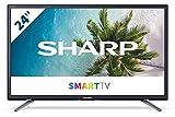 Sharp 24BC1E - Televisor Smart TV de 24' - 24 Pulgadas HD WiFi (resolución 1368 x 720, 2 x HDMI, 2 x USB), Color Negro