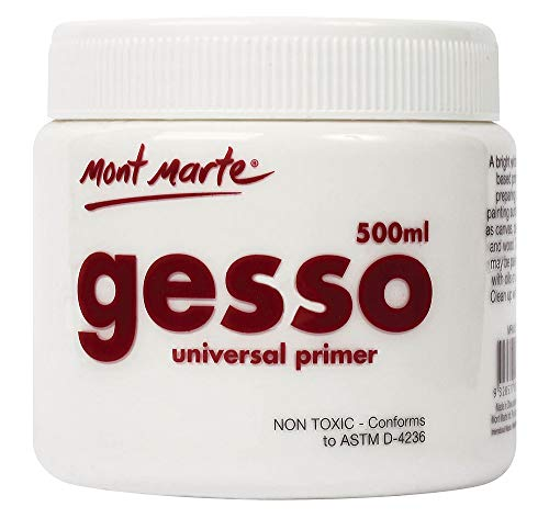 Mont Marte Premium Gesso Universal Primer 16.9oz (500ml), Suitable for Acrylic Paint, Oil Paint, Color Pencils, Pastels, Graphite and Charcoal