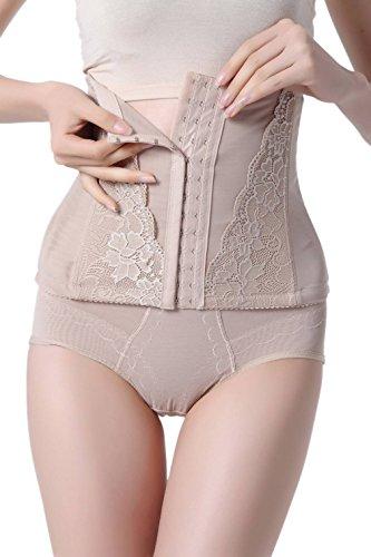 COMVIP Ceinture Minceur Ventre Plat Fitness Body Gainante Serre Taille Amincissant Abricot 83-90cm