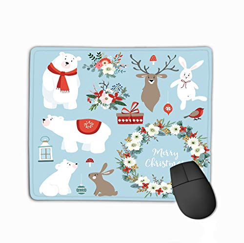 Custom Mouse Pad,11.81 X 9.84 Inch Unique Printed Mouse Mat Design Set Cute Mas Clip Arts Bunnies Reindeer Polar Bears Set Cute Mas Clip Arts Reindeer Polar