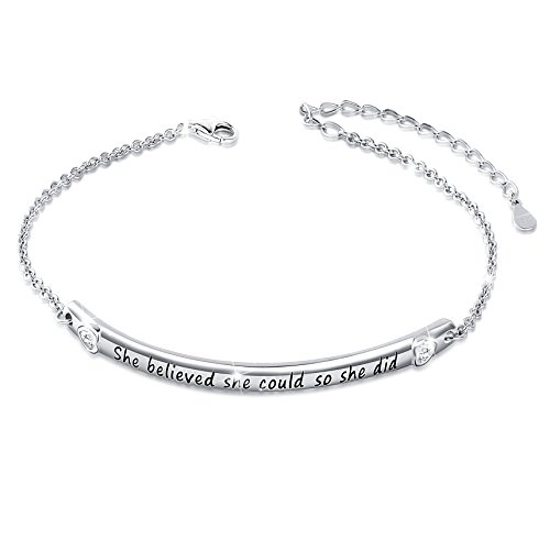 "Sterling Silver Engraved Inspirational Adjustable Bracelet ""She Believed She Could So She Did"" Gift for Her, Women, Friendship (Style 1 White Gold Plated)"