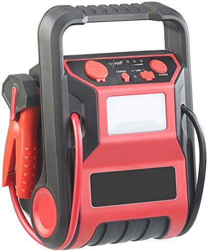 REVOLT Kfz Starthilfe: 5in1-Starthilfe-Powerbank & Kompressor, USB, 12V 9.000mAh, 600A 250PSI (Druckluft Kompressor)