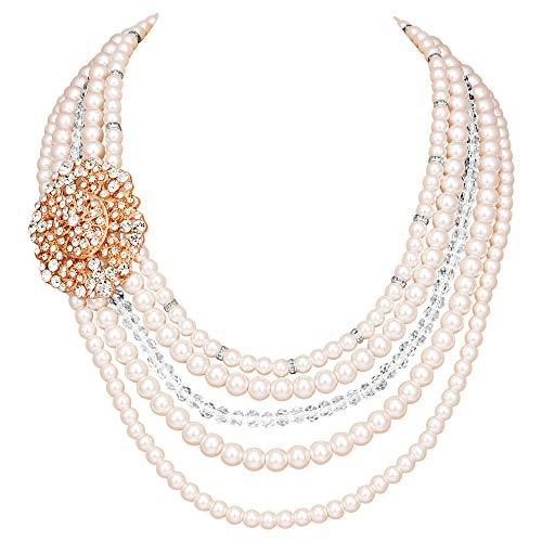 ArtiDeco 1920s Halskette Damen Imitation Perlen Kette Retro 20er Jahre Gatsby Damen Halskette mit Kristall Blume Brosche und Perlen Ohrringe (Stil 1 - Rose Gold)