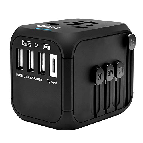 Reiseadapter Reisestecker Universal Travel Adapter USB Reiseadapter Weltweit Steckenadapter USB Stecker Steckdose Adapter mit 3 USB Ports+Type C für 224 Ländern Europa UK Australien USA China