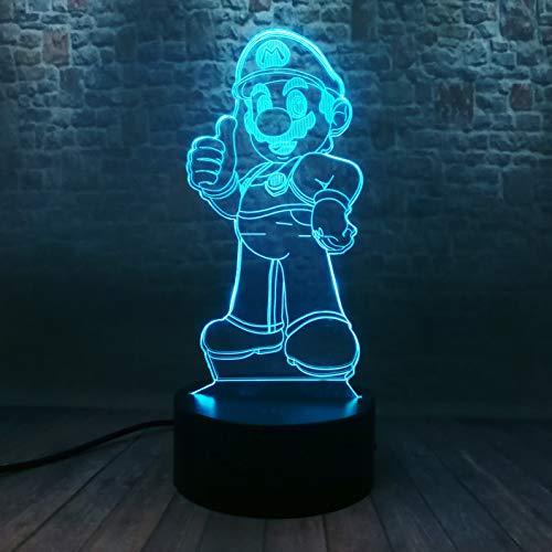 Super Mario Bros - Spiel Actionfigur Nettes Spielzeug 3D LED RGB Nachtlicht Smart 7 Farben Auto Change Tischlampe Dekor Home Party Kinderspielzeug Geburtstag Weihnachten Thanksgiving Geschenke