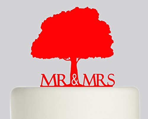 Bride And Groom Mr & Mrs Oak Tree Wedding Cake Topper Acrylic Cake Topper - Red Acrylic