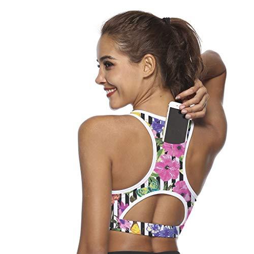 Sport-BH Zurück Handytasche Stoßfest Yoga mit 3D-Druck-BH Damen, Oyedens Frauen-Einteiler Sport-BH Breathable Fitness Bunter Yoga-BH mit Tasche