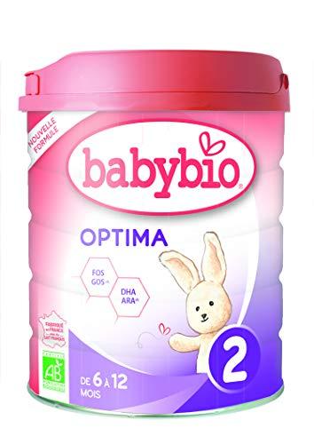 Babybio Formule 2020 Premium au Lait de Vache français - Optima 2 800 g - 6+ Mois - BIO