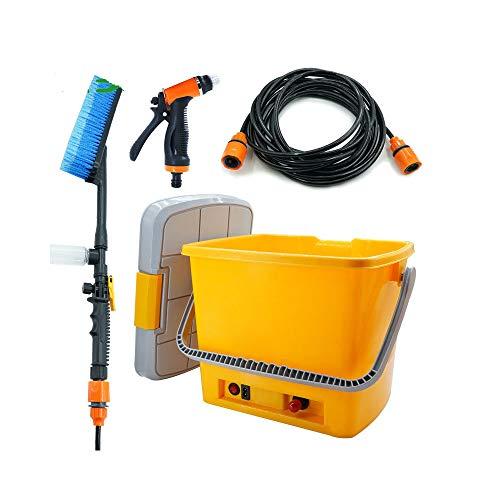 CONRAL Autowäsche-Werkzeuge, Pumpensprüher-Kit, tragbarer, selbstansaugender 12 V-Hochdruckreiniger-Reinigungssatz für Spritzwasser mit Spritzpistole und 18L-Eimer-Aufbewahrungsbox,Orange