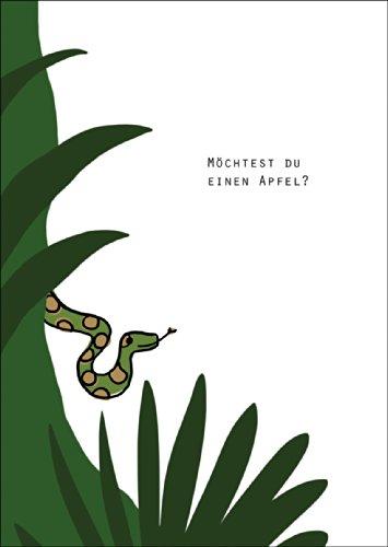 Verleiding liefdeskaart met slang in de tuin Eden: wil je een appel nodig? • Ook voor direct verzenden met uw persoonlijke tekst als inlegger. • mooie premium wenskaart met envelop voor mooie groeten