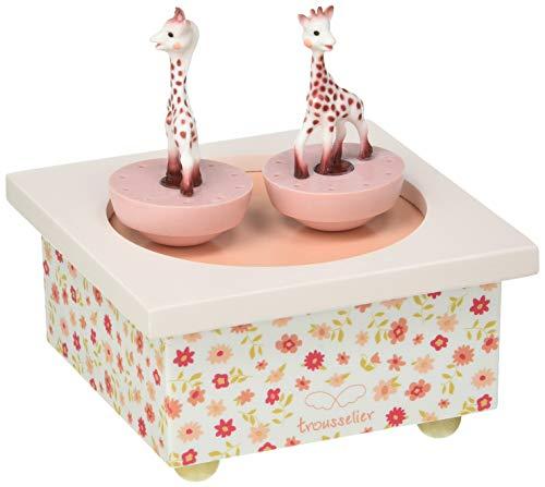 TROUSSELIER - Sophie la Girafe - Boîte à Musique Dancing - Idéal Cadeau de Naissance - 2 Figurines Amovibles - Fonctionnement Simple - Musique Feelings - Colori Rose
