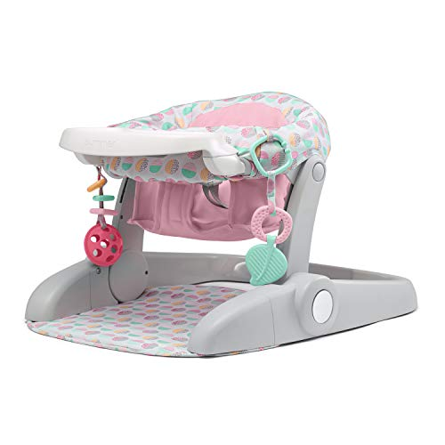 Summer Learn-to-Sit Stages 3-Position Floor Seat, Sweet-and-Sour Pink – Sit Baby Up to See The World – Baby Activity Seat is Adjustable for Ages 4-12 Months – Includes Toys and Tray